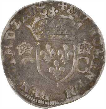 Charles IX, teston 2e type, légende fautée, 1562 Bordeaux