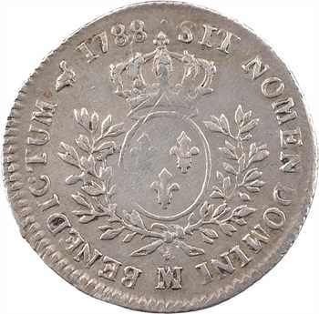 Louis XVI, cinquième d'écu aux branches d'olivier, 1788 Marseille