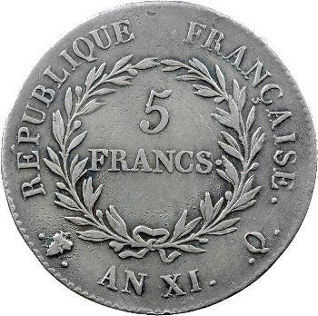 Consulat, 5 francs, An XI Perpignan