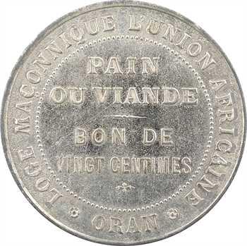 Algérie, Oran, jeton de bienfaisance de vingt centimes de la loge de l'Union africaine, s.d