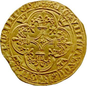 Charles VII, écu d'or 1er type, 1re émission, Villeneuve-lès-Avignon