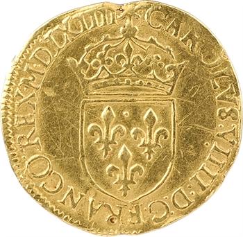 Charles IX, écu d'or au soleil, 1564 La Rochelle