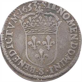 Louis XIV, douzième d'écu à la mèche longue, 1653 Troyes