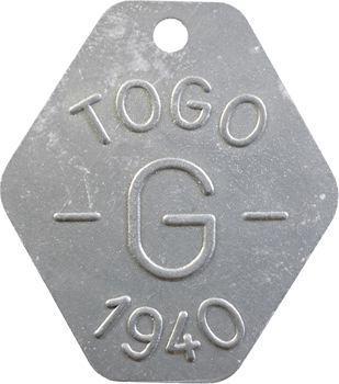 Togo, plaque de taxe, G, 1940