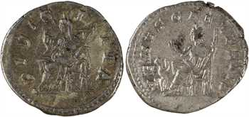 Julia Soemias et Julia Maesa, lot de 2 deniers, Rome, 218-220