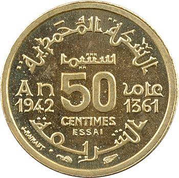 Maroc, Mohammed V, essai-piéfort de 50 centimes, AH 1361 (1942) Paris