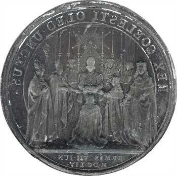 Louis XIV, sacre à Reims le 7 juin 1654, cliché en zinc du revers, 1654 [XIXe siècle] Paris