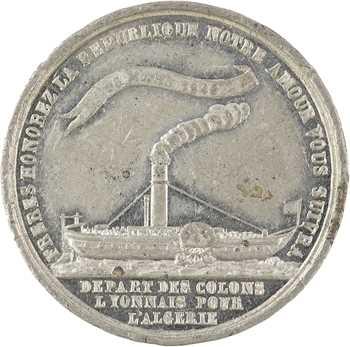 Algérie, départ des colons lyonnais pour Algérie, 1849 Paris