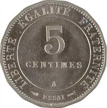 IIIe République, essai de 5 centimes Merley, 1887 Paris