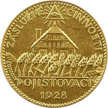 République tchèque, première compagnie d'assurance mutuelle tchèque, en OR, par Sejnost, 1928