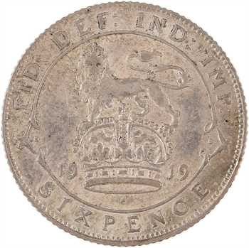 Royaume-Uni, Georges V, sixpence, 1919 Londres