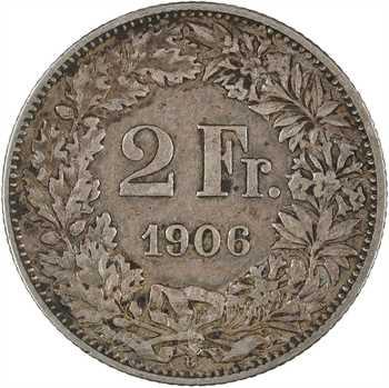 Suisse, Confédération helvétique, 2 francs, 1906 Berne