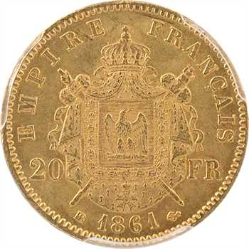 Second Empire, 20 francs tête laurée, 1861 Strasbourg, PCGS MS62