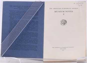 American Numismatics Society, Museum Notes X, 1962