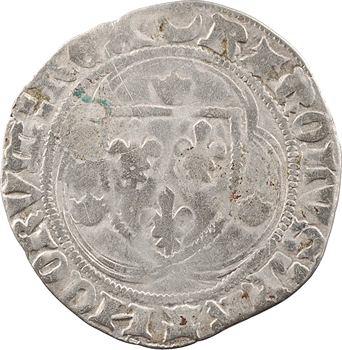 Charles VII, blanc à la couronne (croissant, pas de points), 1re émission, Châlons-en-Champagne