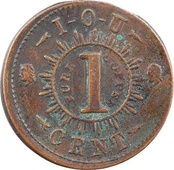 États-Unis, Guerre civile, Knickerbocker currency, token de 1 cent, s.d. (c.1863) New York