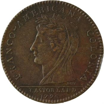 Amérique, Castorland, jeton, Colonie franco-américaine ou demi-dollar, 1796 Paris, refrappe moderne