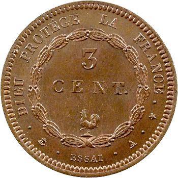 Louis-Philippe Ier, essai de 3 centimes au coq, s.d. Paris