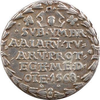 Pologne, Sigismond II, médaillette ou jeton en argent, frappe postérieure, 1568