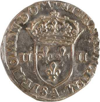 Henri III, quart d'écu croix de face, 1589 Paris