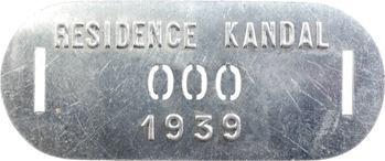 Indochine, Cambodge, Kandal (Résidence de), plaque de taxe n° 000, 1939