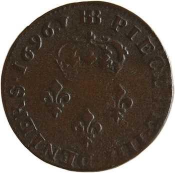 Monnayage de Strasbourg, Louis XIV, pièce de 4 deniers, légende française, 1696 Strasbourg