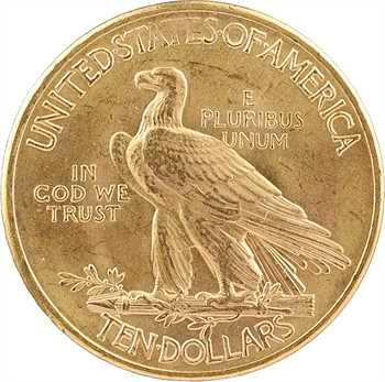 États-Unis, 10 dollars, Tête d'indien, 1932 Philadelphie (variété avec poinçon d'effigie dédoublé)