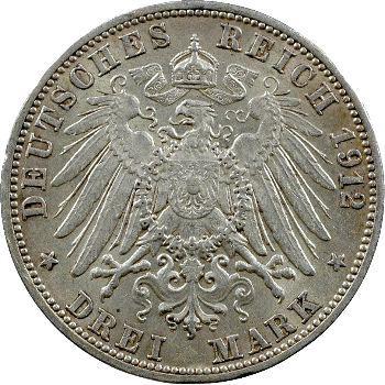 Allemagne, Bade (Grand-duché de), Frédéric II, 3 mark, 1912 Karlsruhe