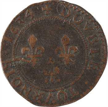Charleville (principauté de), Charles Ier de Gonzague, double tournois 6e type, 1634 Charleville