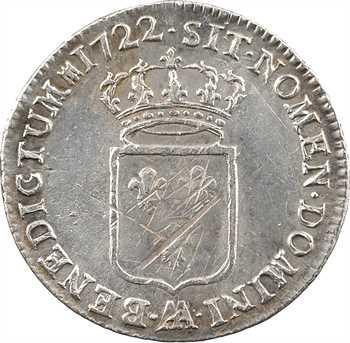 Louis XV, tiers d'écu de France, flan neuf, 1722 Metz