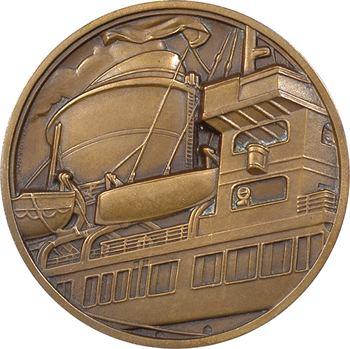 IVe République, Compagnie Générale Transatlantique (C.G.T.), le paquebot Champlain, petit module, par J. Vernon, s.d. Paris