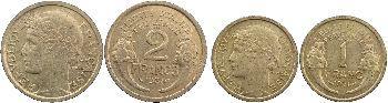 IIIe République, coffret trois essais de 50 centimes, 1 et 2 francs Morlon, 1931 Paris