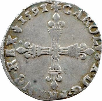 Charles X, quart d'écu, croix de face, 1591 Paris