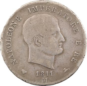 Italie, Napoléon Ier, 5 lire, tranche en creux, 1811/1801 Milan