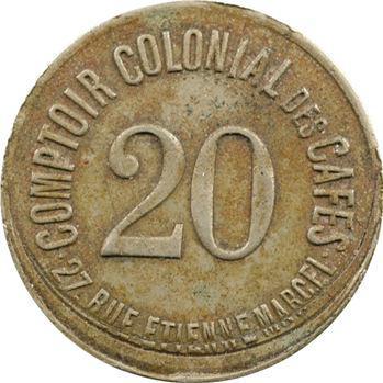 Colonies françaises, Paris, Comptoir colonial des cafés, 20 centimes