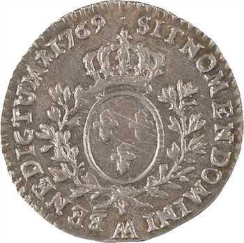Louis XV, dixième d'écu au bandeau, 1769 Metz