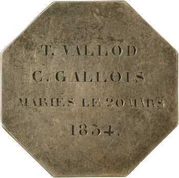 Louis-Philippe Ier, jeton détourné en médaille de mariage, 1834 Paris