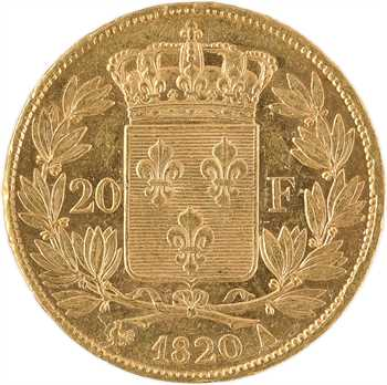 Louis XVIII, 20 francs buste nu, 1820 Paris