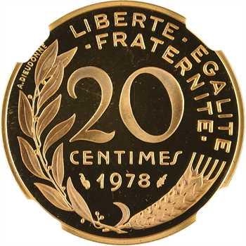 Ve République, piéfort de 20 centimes Lagriffoul en or, 1978 Pessac, NGC PF66 ULTRA CAMEO