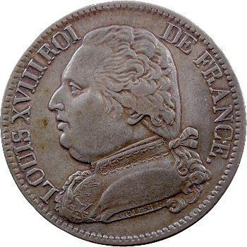Louis XVIII, 5 francs buste habillé, 1815 Perpignan