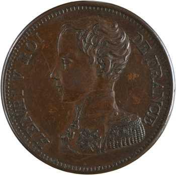 Henri V, module de 5 francs en bronze, 2 août 1830