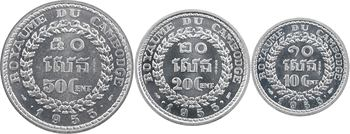 Cambodge, coffret de trois essais de 10, 20 et 50 cents, 1953 Paris