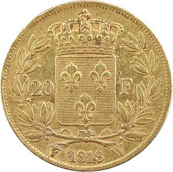 Louis XVIII, 20 francs buste nu, 1818 Lille
