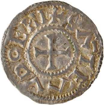 Rouen, monastère Saint-Ouen, denier au monogramme de Charles, s.d. (milieu du Xe s.)