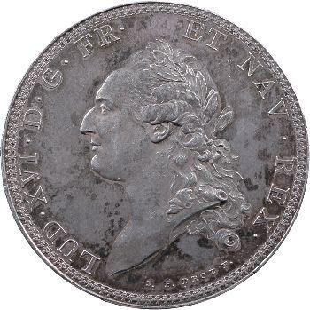 Louis XVI, essai de l'écu par Droz ou écu de Calonne (tranche à six viroles), 1786 Paris
