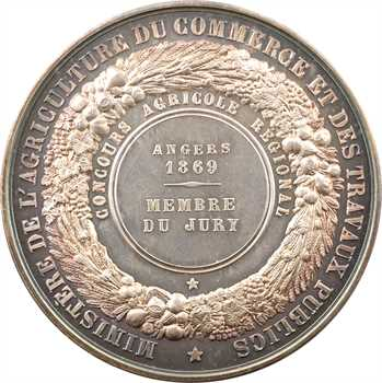Second Empire, Comice Agricole d'Angers (jury), 1869 Paris PROOF