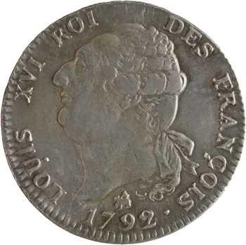Constitution, écu de 6 livres FRANÇOIS, An 4, 2d semestre, 1792 Rouen