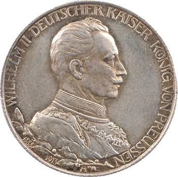 Allemagne, Prusse (royaume de), Guillaume II, 2 mark d'hommage, 1913 Berlin