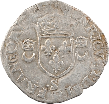 Henri II, douzain aux croissants, 1558 Troyes