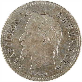 Second Empire, 20 centimes tête laurée petit module, 1866 Paris